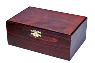 Chess Box Stained Birch Wood With Metal Clasp 3.50″