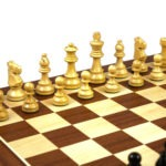 Master Range Wooden Chess Set Mahogany Board 21″ Weighted Ebonised Staunton French Knight Pieces 3.75″