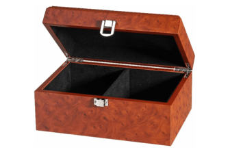 Chess Box Large Burl Root Wood With Metal Clasp 3.75″