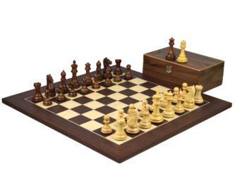 Executive Range Wooden Chess Set Macassar Board 20″ Weighted Sheesham Staunton Fierce Knight Pieces 3.75″