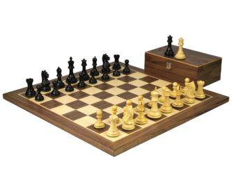 Master Range Wooden Chess Set Walnut Board 21″ Weighted Ebonised Staunton Fierce Knight Pieces 3.75″