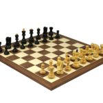 Master Range Wooden Chess Set Walnut Board 21″ Weighted Ebonised Zagreb Staunton Pieces 3.75″