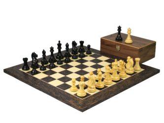 Executive Range Wooden Chess Set Tiger Ebony Board 20″ Weighted Ebonised Staunton Fierce Knight Pieces 3.75″