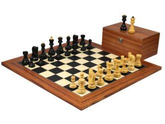 Executive Range Wooden Chess Set Palisander Board 20″ Weighted Ebonised Zagreb Staunton Pieces 3.75″
