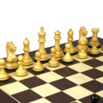 Executive Range Wooden Chess Set Macassar Board 20″ Weighted Ebonised Staunton Fierce Knight Pieces 3.75″