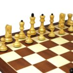 Executive Range Wooden Chess Set Mahogany Board 20″ Weighted Ebonised  Zagreb Staunton Pieces 3.75″