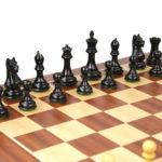 Executive Range Wooden Chess Set Mahogany Board 20″ Weighted Ebonised Staunton Fierce Knight Pieces 3.75″