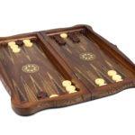 """Luxury Range Helena Backgammon Set """"Carved Walnut"""" – 20″ – 2181"""