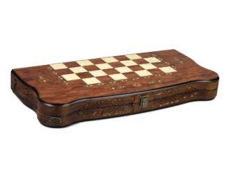 """Luxury Range Helena Backgammon Set """"Carved Rosewood"""" – 20″ – 2181"""
