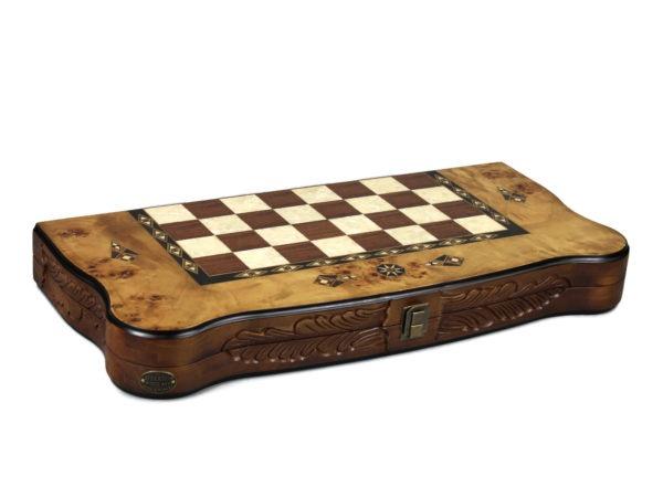 bird eye maple carved helena backgammon set