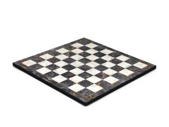 "Classic Range Wooden Flat Chess Board ""Grey Marble""- 14″"