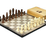 """Classic Range Wooden Chess Set With Pieces and Storage Box """"Platinum Oak""""- 14″"""