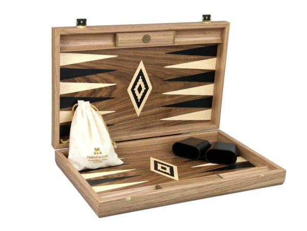 antique walnut manopoulos backgammon set