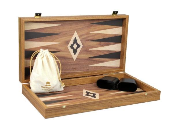 walnut manopoulos backgammon set
