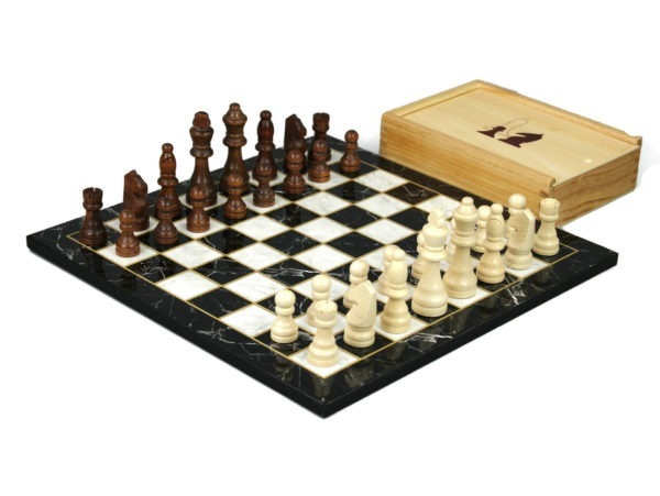 black marble chess set with chess pieces and storage box