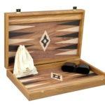 """Executive Range Manopoulos Backgammon Set """"Walnut""""- 23″  Storage Racks Included"""