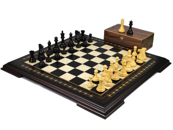 ebony staunton chess set with professional staunton chess pieces