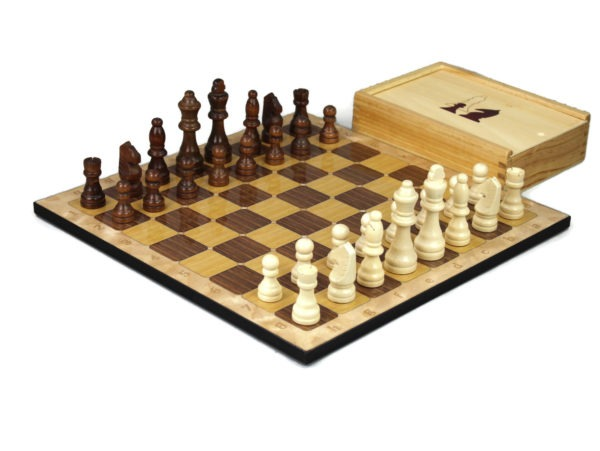 oak chess set with chess pieces and storage box