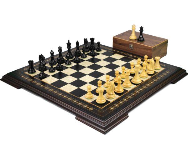 ebony staunton chess set with fierce knight ebonised chess pieces