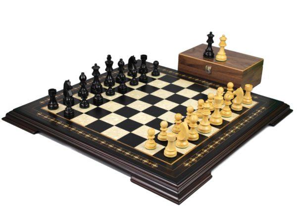 ebony staunton chess set with ebonised german staunton chess pieces