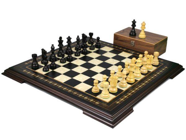 ebonywood staunton chess set with ebonised french knight chess pieces