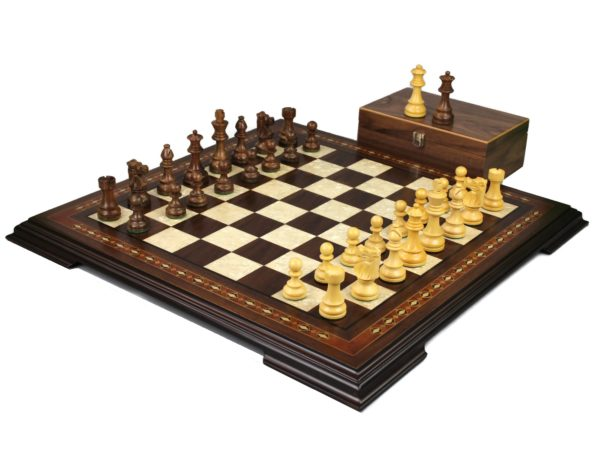 walnut chess set with staunton chess pieces