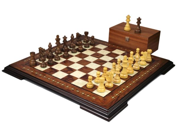 staunton chess set with sheesham french knight chess pieces