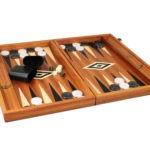 """Executive Range Manopoulos Backgammon Set """"Mahogany""""- 23″  Storage Racks Included"""