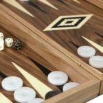 """Executive Range Manopoulos Backgammon Set """"Antique Walnut""""- 23″  Storage Racks Included"""