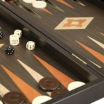 """Executive Range Manopoulos Backgammon Set """"Wenge & Oak""""- 23″  Storage Racks Included"""