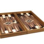 """Executive Range Manopoulos Backgammon Set """"Walnut""""- 20″"""
