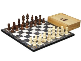 """Classic Range Wooden Chess Set With Pieces and Storage Box """"Grey Marble""""- 14″"""