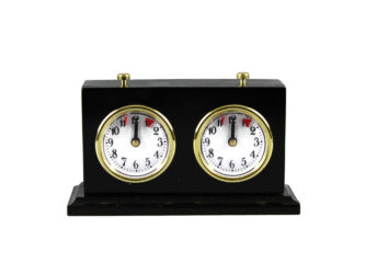 Turnier Chess Clock Analog Charcoal Stained Wood With Stand