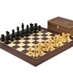 Executive Range Wooden Chess Set Macassar Board 20″ Weighted Ebonised Reykjavik Staunton Pieces 3.75″