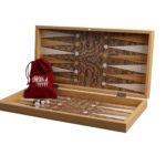 "Classic Range Chess & Backgammon Set ""Burl Walnut""- 19″"