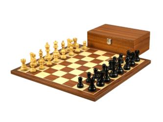 Economy Range Wooden Chess Set Mahogany Board 16″ Weighted Ebonised Classic Staunton Pieces 3″