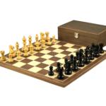 Economy Range Wooden Chess Set Walnut Board 16″ Weighted Ebonised Classic Staunton Pieces 3″