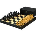 Economy Range Wooden Chess Set Ebony Board 16″ Weighted Ebonised German Staunton Pieces 3″