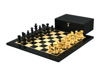 Economy Range Wooden Chess Set Ebony Board 16″ Weighted Ebonised French Staunton Pieces 3″